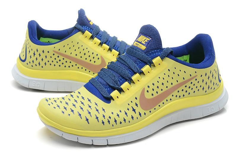 53259524e863 2013 Cheap Nike Free 3.0 V4 Yellow Blue Womens shoes