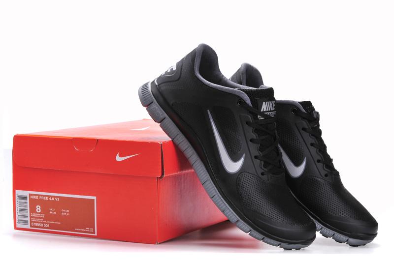 new styles 50098 eb031 Hot Sale 2013 Nike Free 4.0 V3 Leather Black Gray Men Shoes