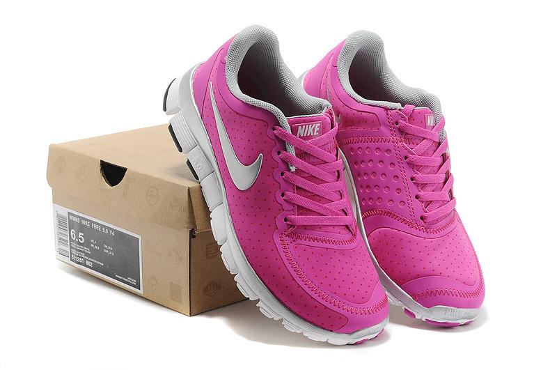 buy popular 8f7af e4d89 New Cheap Nike Free 5.0 V4 Women Pink Sliver White Shoes